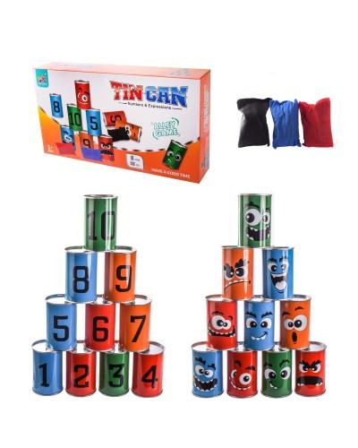 Игра Банки WT6635 10 банок, 3 мешочка, в коробке – 38*21*7 см, р-р банки – 10 см
