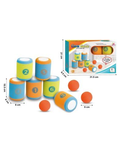 Игра Банки 6633 6 банок 10 см, 3 мячика 6 см в коробке 31,5*21*9,5 см