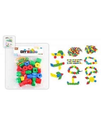 Логика-шнуровка HC-070-A кружочки, триугольники, ромбы, шнурки, в пакете 30*20*3см