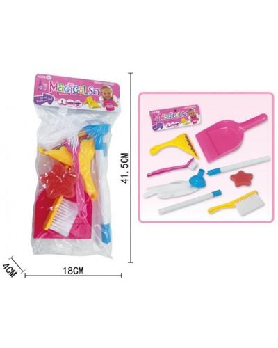 Набор для уборки 556-5 шетки, совок, мочалка, в пакете 18*5*11,5 см