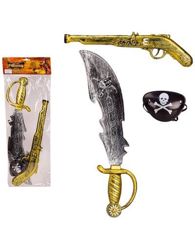 Пиратский набор ZP3109 мушкет, сабля, повязка на глаз, в пакете - 20*54 см, сабля - 46 см