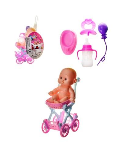 Пупс LE566H-11A коляска, горшок, бутылочка, пустышка, в сетке, р-р коляски – 8*5.5*12.5 см