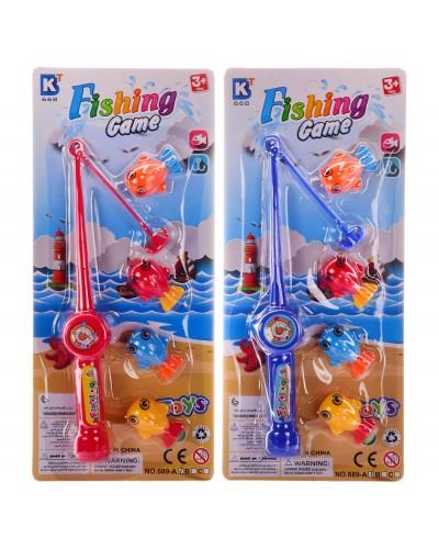 Рыбалка 689A 2 цвета, удочка, 4 рыбки, на планшетке – 11*2*25 см, р-р удочки – 19 см