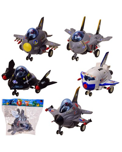 Самолет инерц.  328PC 5 видов, в пакете – 19*15 см, р-р игрушки – 12*12.5*8 см