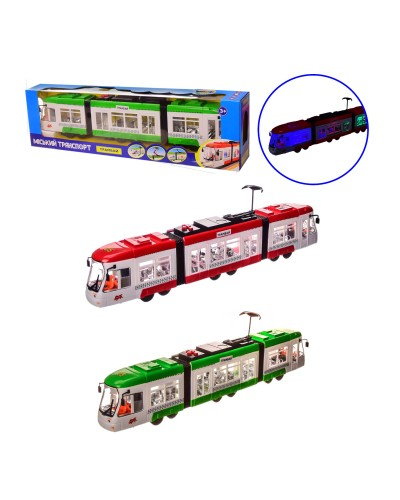Трамвай K1114 2 цвета, батар., в кор. – 48.5*8*13.5 см, р-р игрушки – 46*5.5*9.5 см