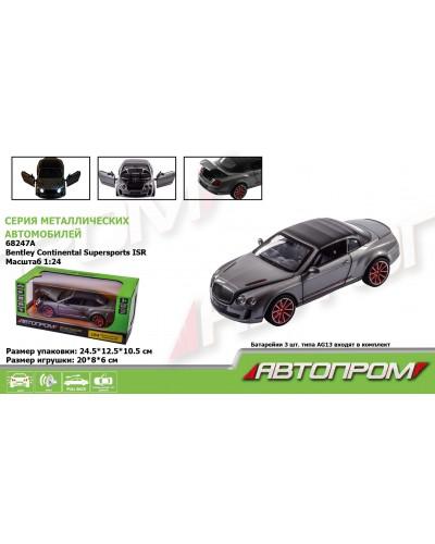 "Машина металл 68247A ""АВТОПРОМ"", 1:24 Bentley Continental Supersports ISR, батар., свет, звук, откр."