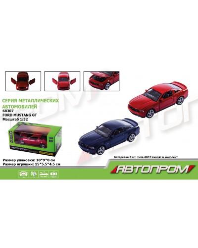 """Машина металл 68307 """"АВТОПРОМ"""", 2 цвета, 1:32 Ford Mustang GT, батар, свет, звук, откр.двери, в коро"""