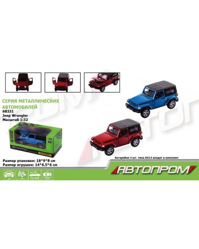 "Машина металл 68331 ""АВТОПРОМ"", 2 цвета, 1:32 Jeep Wrangler , батар, свет, звук, откр.двери, в короб"