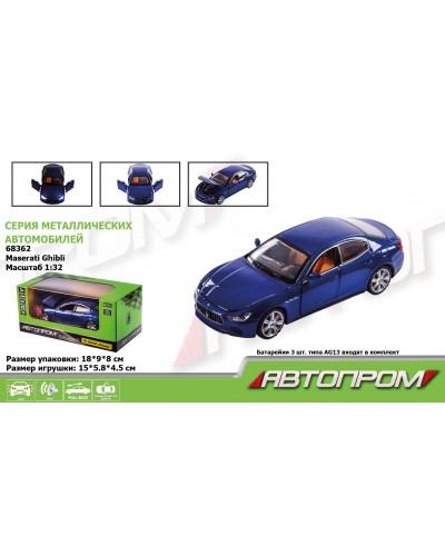 "Машина металл 68362 ""АВТОПРОМ"", 1:32 Maserati Ghibl, батар, свет, звук, откр.двери, в коробке"