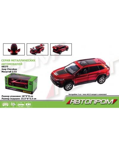 "Машина металл 68375 ""АВТОПРОМ"", 1:32 Jeep  Cherokeel, батар, свет, звук, откр.двери, в коробке"