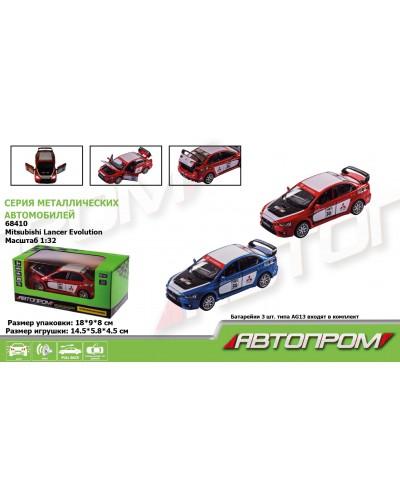 "Машина металл 68410 ""АВТОПРОМ"", 2 цвета, 1:32 Mitsubishi Lancer Evolution, батар, свет, звук, откр.д"
