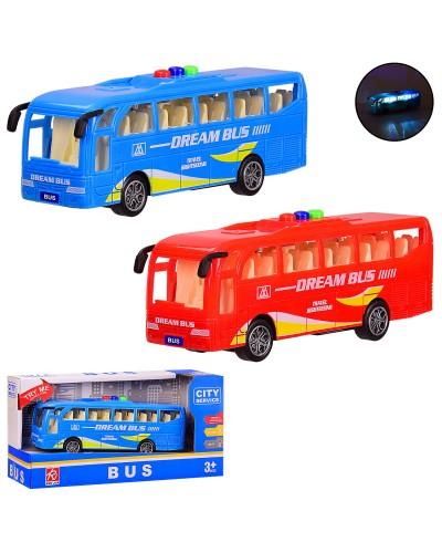 Автобус батар. RJ6688 инерц, 2 цвета, свет, звук, в кор. 22*7.5*11 см, р-р игрушки – 16.5*4.5*6 см