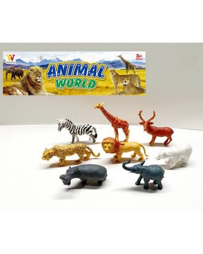 Животные пласт. 2065B дикие, 8 шт в наборе, в пакете 27,5*4*35см