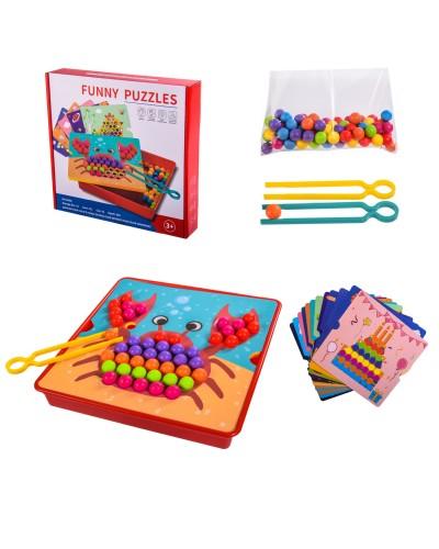 Мозаика 51403 12 картинок, 2 щипцы, 84 шарика, в коробке – 28*26.5*5 см, р-р игрушки – 26*26*4.5 см