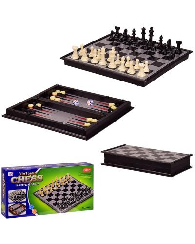 Шахматы магнитные 3146 (72шт/2) 3 в 1, в кор. 24*4*12 см, р-р доски – 24*24*2 см