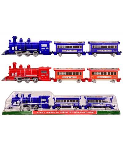 Поезд инерц. 538B-2X 2 цвета, под слюдой - 58.5*7*11 см, р-р игрушки – 55*5*11 см