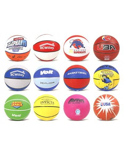 Мяч баскетбольный BB0102 №7, резина, 580 грамм, MIX 12 цветов