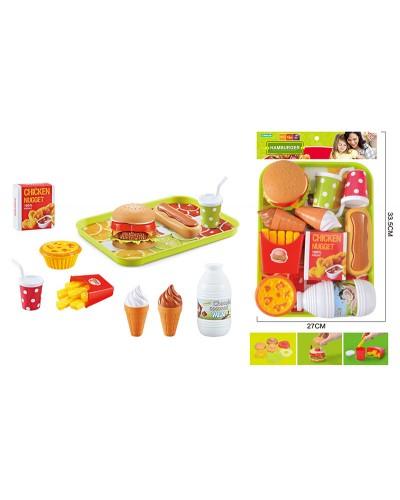 "Набор продуктов ""Фаст фуд"" BQ801H-1 бургер разбирается, картошка фри, мороженое, напитки, поднос"