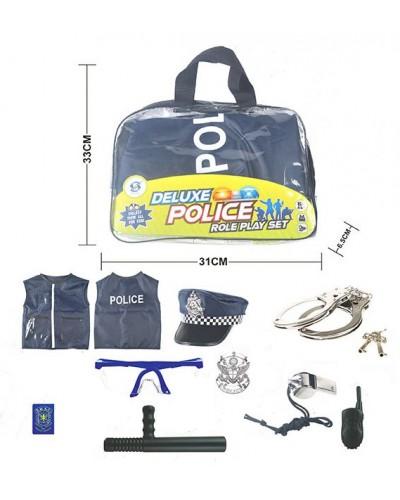 Полицейский набор HSY-168 костюм, пистолет, метал. наручники, дубинка, в сумке 33*31*6,5см