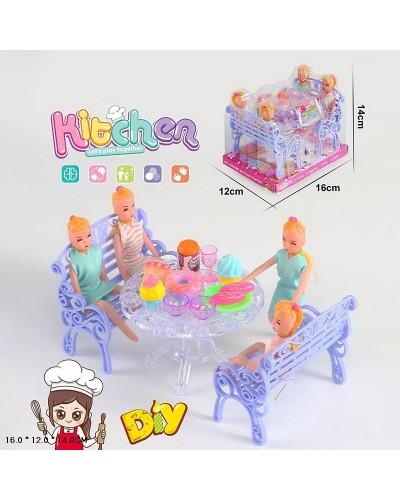 """Мебель """"Кухня"""" A8-685 куклы, стол, скамейки, посудка, продукты,в слюде 16*12*14 см"""