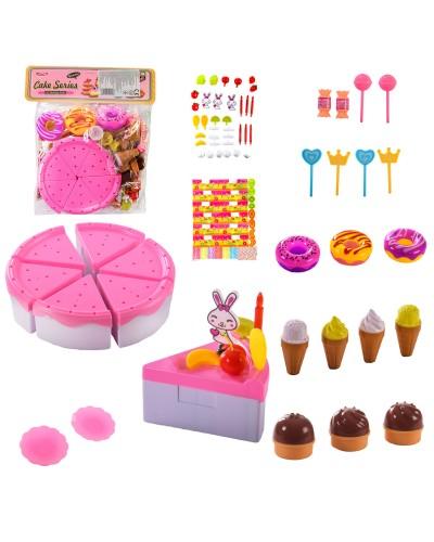 """Набор продуктов """"Торт"""" YH-08H торт,пончики,нож,в пакете – 28*33 см, р-р игрушки – 16.5*16.5*4"""