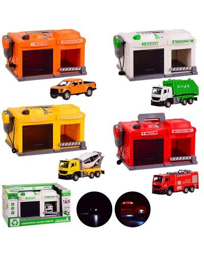 Паркинг батар. CLM-551/2/3 4 вида, свет,звук, транспорт в наборе, в кор. 36.5*24.5*19.5 см, р-р