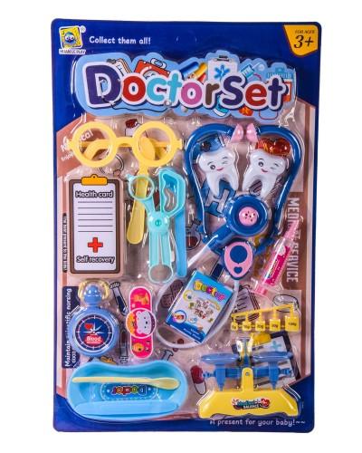 """Доктор """"Стоматолог"""" 666-50 стетоскоп, шприц, зубы, очки, весы, аксес, на планш. – 28.5*44*3 см"""