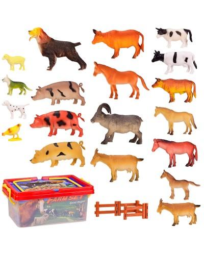 Животные H6600 22 домашних животных+игровое поле+забор, в боксе 31*21*14 см