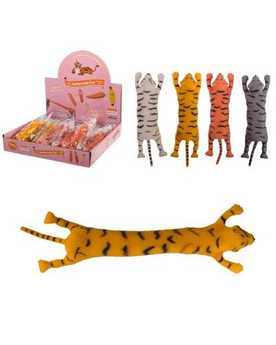 Антистресс тянучка LL2159 тигры, 4 цвета, 12 шт в дисплей боксе – 24*24*4 см, р-р игрушки – 15 см /ц