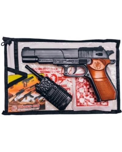 Пистолет 252 в комплекте:9 пистонов на 8 выстрелов, рация, р-р ирушки 24*14см, в пакете