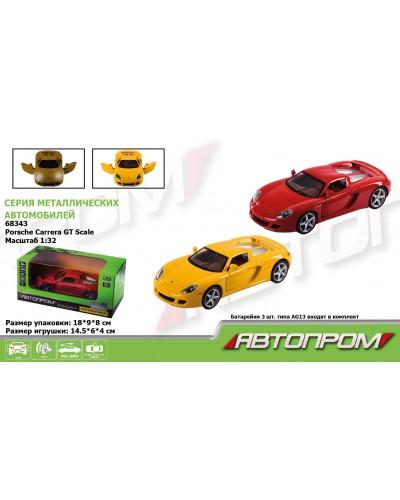 """Машина металл 68343 """"АВТОПРОМ"""", 2 цвета, 1:32 Porsche Carrera GT , батар, свет, звук, откр.двери, в"""