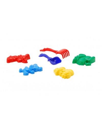 Песочный набор: лопатка, грабли, четыре большие пасочки