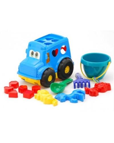Детский набор: автобус з вкладишами, ведерко, лопатка, грабли, три пасочки