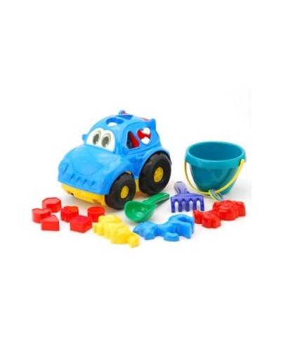 Детский набор: машинка з вкладишами, ведерко, лопатка, грабли, три пасочки