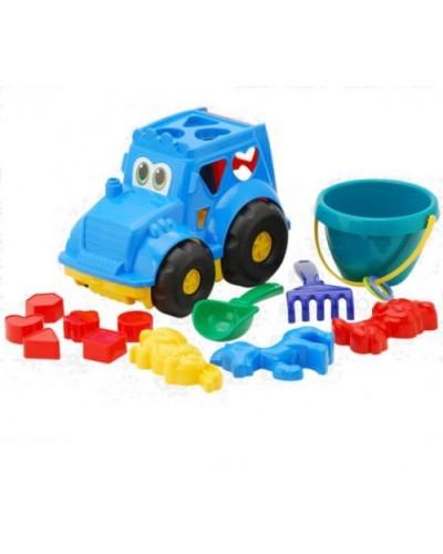 Детский набор: трактор з вкладишами, ведерко, лопатка, грабли, три пасочки