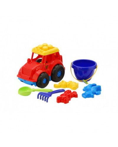 Детский набор: трактор, ведерко, лопатка, грабли, три пасочки
