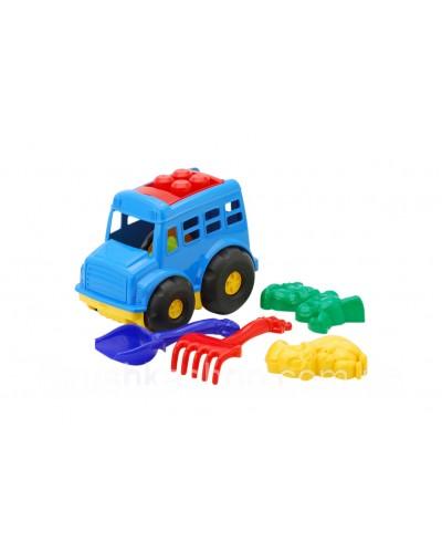 Детский набор: автобус, лопатка, грабли, две большие пасочки