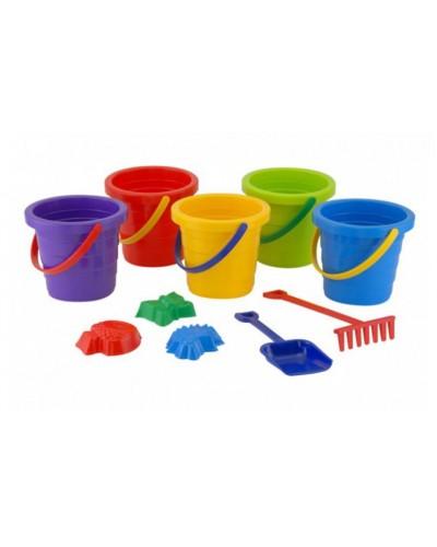 Дитячий пісочний набір: відерце, лопатка, граблі, три пасочки