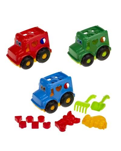 """Сортер-автобус """"Бусик"""" №2 (автобус с вкладышами, лоп. и граб. ЛГ4, две пас. П4), сетка п/м 251к"""